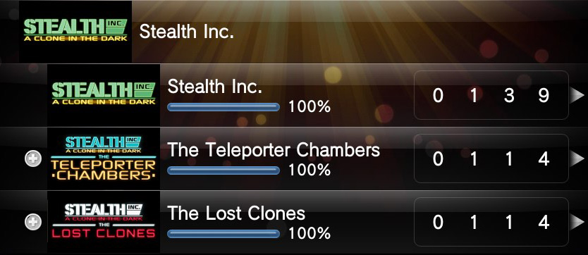 Stealth Inc. Platinum trophy and 100% DLC complited