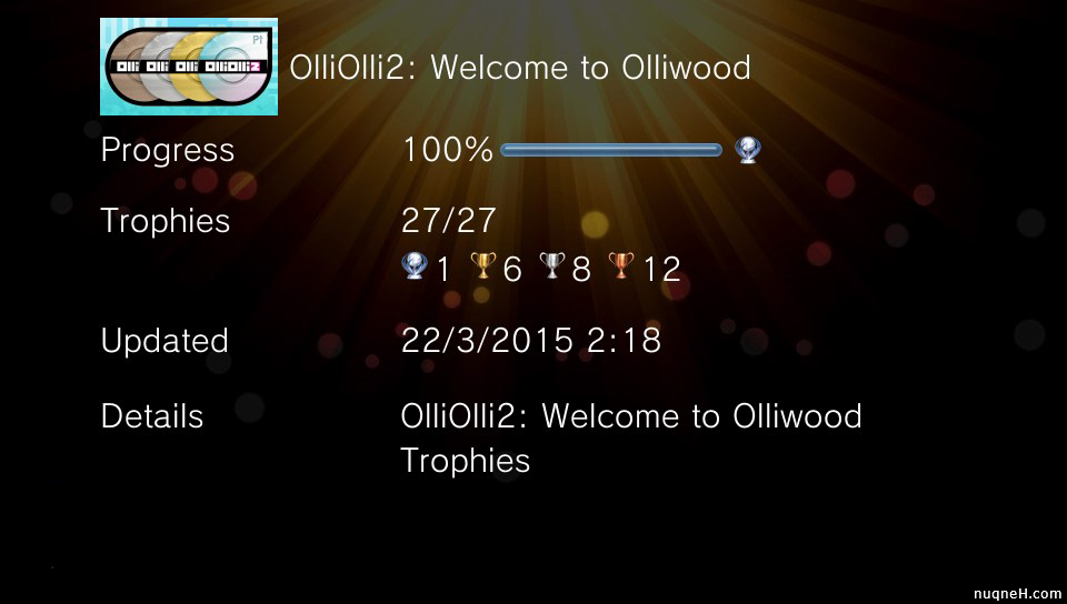 Platinum trophy of OlliOlli 2: Welcome to OlliWood