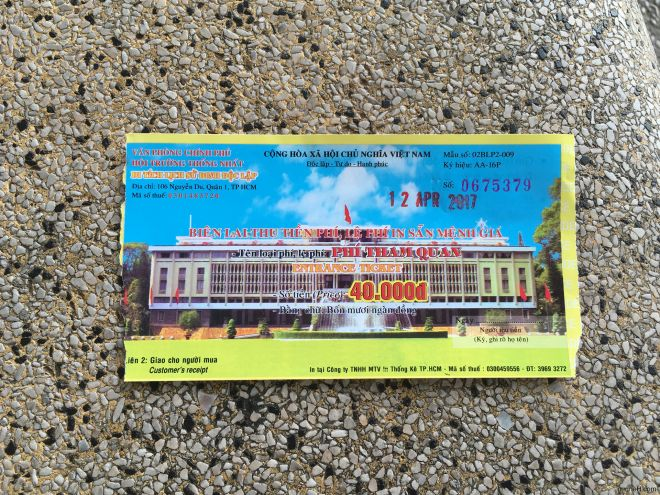 Ticket to Independence Palace