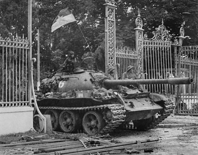 Bulldozing Independence Palace gate