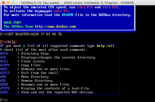 DOS help command