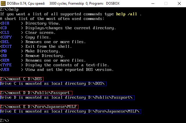 DOSBox mount command on Windows