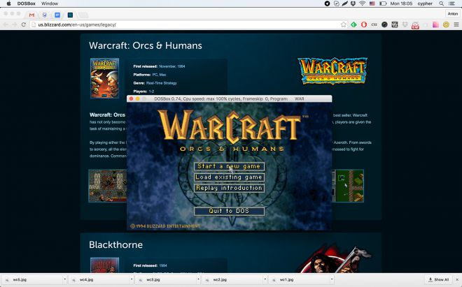Warcraft: Orcs & Humans over Chrome