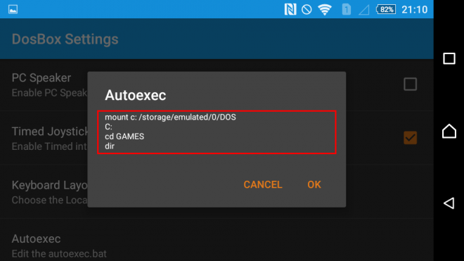 Change autoexec setting in aFreeBox case 2