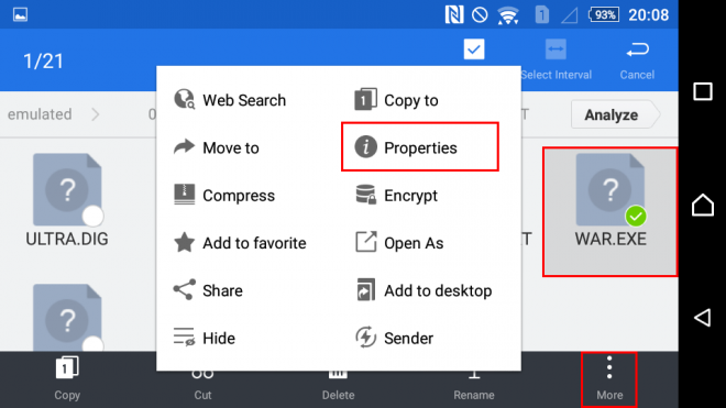 Check file path in ES file manager step 1