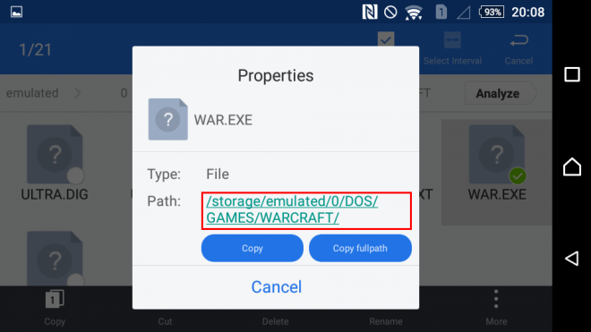 Check file path in ES file manager step 2