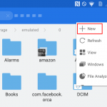 Create new folder in ES File manager on android - step 1