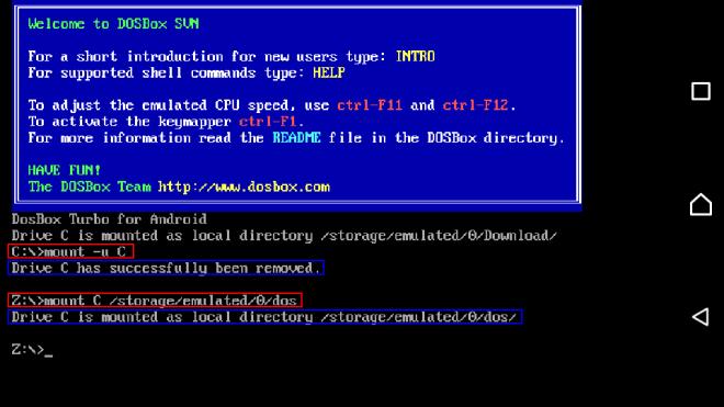 Mount DOS folder in aFreeBox