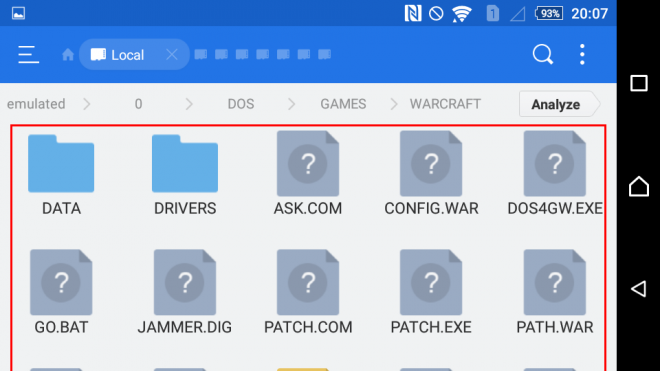 Warcraft files on ES File manager