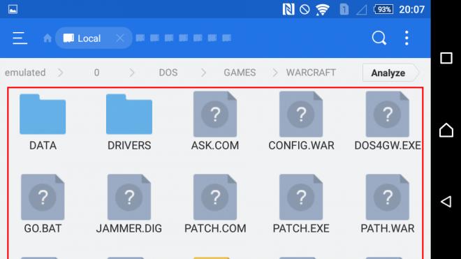 Warcraft files on ES File manager